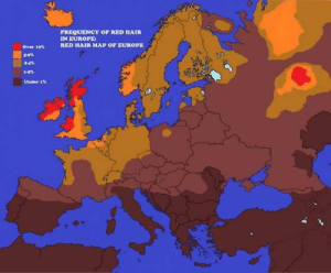 Percentage of red haired people in Europe Source: http://ow.ly/MMtQ50qqIEI: FREQUENCY OF RED HAIR  IN EUROPE  RED HAIR MAP OF EUROPE  Over 10%  Under 1% Percentage of red haired people in Europe Source: http://ow.ly/MMtQ50qqIEI