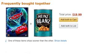 Peace, Sauce, and Add: Frequently bought together  Total price: $19,99  HEINZ  BEANZ  Add both to Cart  rich tomato sauce  Add both to List  of  our  day  52  57  i One of these items ships sooner than the other. Show details Ahh, finally at peace