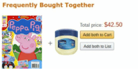 """Dank, Meme, and Http: Frequently Bought Together  Total price: $42.50  #1  Add both to Cart  UJIN  Add both to List  2  eLUs <p>peppa via /r/dank_meme <a href=""""http://ift.tt/2gcvq4R"""">http://ift.tt/2gcvq4R</a></p>"""