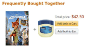 "Definitely, Http, and Add: Frequently Bought Together  ZOOTOPIA  Total price: $42.50  Add both to Cart  Vaseline S  Add both to List  ,00% puo potro auryoly <p>Definitely invest!!! Very easy to use with many possibilities!!! via /r/MemeEconomy <a href=""http://ift.tt/2zbqrJg"">http://ift.tt/2zbqrJg</a></p>"