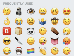 Emojis, Used, and Frequent: FREQUENTLY USED  B My frequent emojis