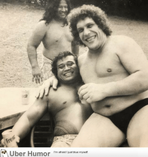failnation:  Here's the '8th Wonder of the World' André the Giant, goofing around with his best friend (Dwayne 'The Rock' Johnson's 315lb grandfather), High Chief Peter Maivia. – 1970's: Fres  Uber Humor  I'm afraid I just blue myself. failnation:  Here's the '8th Wonder of the World' André the Giant, goofing around with his best friend (Dwayne 'The Rock' Johnson's 315lb grandfather), High Chief Peter Maivia. – 1970's
