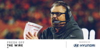 Fresh, Memes, and Hyundai: FRESH OFF  THE WIRE  PRESENTED BY  HYUNDAI Jets finalizing deal to make Gregg Williams next defensive coordinator, per @RapSheet: https://t.co/oE4cXMOdqb (by @Hyundai) https://t.co/WSfT90rLaL