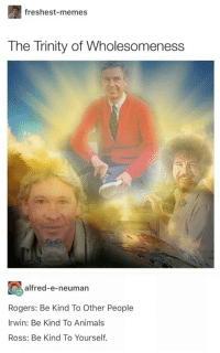 Animals, Memes, and Too Much: freshest-memes  The Trinity of Wholesomeness  alfred-e-neuman  Rogers: Be Kind To Other People  Irwin: Be Kind To Animals  Ross: Be Kind To Yourself. Too much goodness in this pic.. via /r/memes https://ift.tt/2MlMEOM