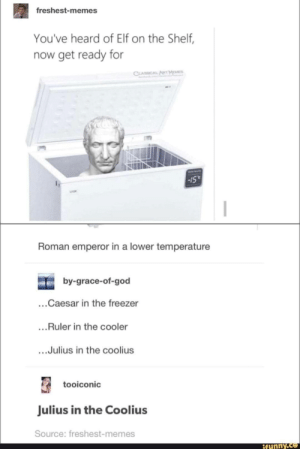Ruler: freshest-memes  You've heard of Elf on the Shelf,  now get ready for  CLASSICAL  Roman emperor in a lower temperature  by-grace-of-god  ...Caesar in the freezer  ...Ruler in the cooler  ...Julius in the coolius  tooiconic  Julius in the Coolius  Source: freshest-memes  ifunny.c