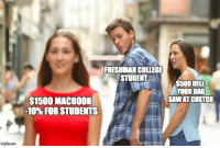 "College, Costco, and Dad: FRESHMAN COLLEGE  STUDENT  $500 DELL  YOUR DAD  SAWAT COSTCO  $1500 MACBOOK  "" 10% FOR STUDENT <p>Every Spring! via /r/memes <a href=""http://ift.tt/2EBsbOk"">http://ift.tt/2EBsbOk</a></p>"
