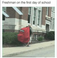 Funny, School, and Day: Freshman on the first day of school