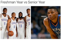 The difference a few years can make. #Thunder Nation: Freshman Year vs Senior Year  NBAMEMES The difference a few years can make. #Thunder Nation