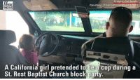 CUTE: A Fresno police officer played along with a California girl who was pretending to be a cop during a block party. The officer's partner filmed the moment without him knowing.: Fresno: California  epartmeht  FOX  NEWS  Courtesy: Fresno Poli  A California girl pretended to be a cop during a  St. Rest Baptist Church block party. CUTE: A Fresno police officer played along with a California girl who was pretending to be a cop during a block party. The officer's partner filmed the moment without him knowing.