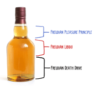 Memes, Death, and Drive: FREUDIAN PLEASURE PRINCIPLE  FREUDIAN LIBIDO  FREUDIAN DEATH DRIVE Whiskey is amazing because you can go through all of Freud's major drives with a single bottle.