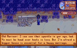 I did not expect to get roasted this hard: Fri. 5  12:20 pm  25918  Old Mariner: I can  see that sparkle in yer eye, lad.  Ye must be head over heels in love, But I'm afraid a  bigger house is essemtial for a happy marriage. I did not expect to get roasted this hard