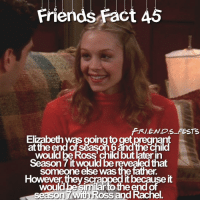 Memes, 🤖, and Ross: FRI.E.NDS FESTS  Elzabeth was going to get precnant  at the end of season 6 ànd the child  would be Ross' child but later in  Season 7 it would be revealed that  someone else was the father  However, they scrapped it because it  would be similar to the end of Fact 45 🙃 Send Confessions via DM 📩