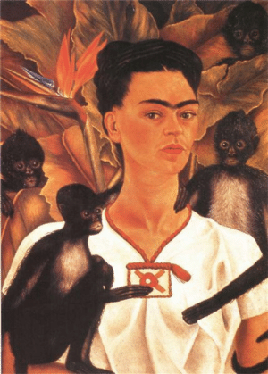 Tumblr, Blog, and Search: fridakahlo-art:   Self Portrait with Monkeys  1943   Frida Kahlo