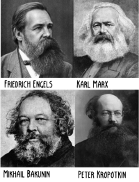 What's the major difference between Anarchists and Communists? Well, the communists will, on occasion, comb their hair.: FRIEDRICH ENGELS  KARL MARX  MIKHAIL BAKUNIN  PETER KROPOTKIN What's the major difference between Anarchists and Communists? Well, the communists will, on occasion, comb their hair.