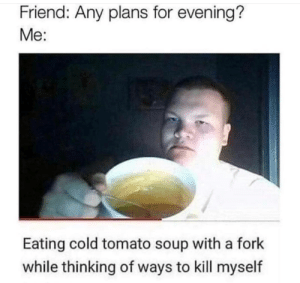 meirl by Lowcrbnaman MORE MEMES: Friend: Any plans for evening?  Me:  Eating cold tomato soup with a fork  while thinking of ways to kill myself meirl by Lowcrbnaman MORE MEMES