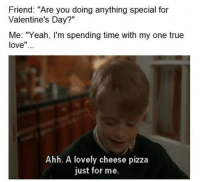 "Memes, 🤖, and True Love: Friend: ""Are you doing anything special for  Valentine's Day?""  Me: ""Yeah, I'm spending time with my one true  love  Ahh. A lovely cheese pizza  just for me."