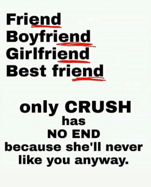 Lonely forever by MuAlH MORE MEMES: Friend  Boyfriend  Girlfriend  Best friend  only CRUSH  has  NO END  because she'll never  like you anyway. Lonely forever by MuAlH MORE MEMES