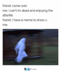im dead: friend: come over  me: i can't im dead and enjoying the  afterlife  friend: i have a meme to show u  me:  ef  Postize