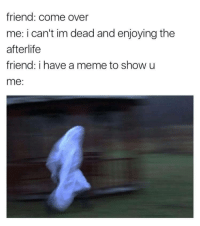 <p>It better be fucking good</p>: friend: come over  me: i can't im dead and enjoying the  afterlife  friend: i have a meme to show u  me: <p>It better be fucking good</p>