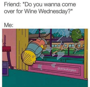 "Come Over, Dank, and Wine: Friend: ""Do you wanna come  over for Wine Wednesday?""  Me:  @drinksforgays"