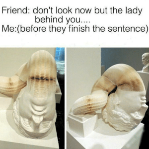 me_irl: Friend: don't look now but the lady  behind you....  Me:(before they finish the sentence) me_irl
