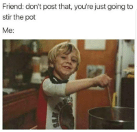 Lol, Memes, and 🤖: Friend: don't post that, you're just going to  stir the pot  Me: Lol