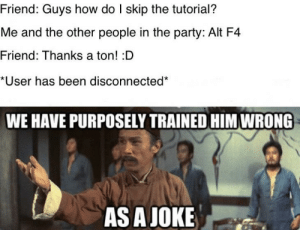 Party, Been, and How: Friend: Guys how do I skip the tutorial?  Me and the other people in the party: Alt F4  Friend: Thanks a ton! :D  *User has been disconnected  WE HAVE PURPOSELY TRAINED HIM WRONG  AS A JOKE