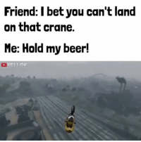 Memes, 🤖, and Gta: Friend: I bet you can't land  on that crane.  Me: Hold my beer! Bruh 😳👌🏾 savage hahaha hehe haha funny lol lmao lmfao done meme whitepeople hilarious comedy dank 420 bruh nochill niggas weak icanteven smh bitchesbelike thuglife ctfu omg followme gta gamer (Credit :yellok via YouTube)