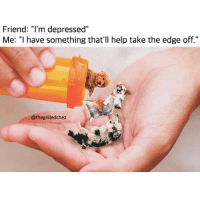"Memes, Help, and Tag Someone: Friend: ""I'm depressed""  Me: ""I have something that'll help take the edge off.""  @thegrilledchez Tag someone that needs this.. @thegrilledchez for more @thegrilledchez @thegrilledchez"