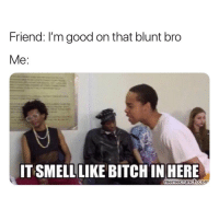 Lmao, Weed, and Good: Friend: I'm good on that blunt bro  Me:  ITSMELLLIKE BITCHIN HERE  memecrunch.com lmao