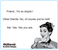 Friends, Funny, and Wednesday: Friend: I'm so stupid!  Other friends: No, of course you're not!!  Me: Yes. Yes you are.  The Intenet Scavrengers <p>Funny Wednesday balderdash  A midweek collection of smiles  PMSLweb </p>