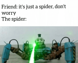 Thomas the spider engine: Friend: it's just a spider, don't  worry  The spider: Thomas the spider engine
