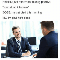 "Funny, Job Interview, and Memebase: FRIEND: just remember to stay positive  ""later at job interview*  BOSS: my cat died this morning  ME: Im glad he's dead 15 Stock Photo Memes That Are Way Too Hilarious For Words - Memebase - Funny Memes #bestfunnymemes"