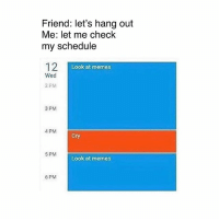 😜😜: Friend: let's hang out  Me: let me check  my schedule  12  Look at memes  Wed  2 PM  3 PM  4 PM  Cry  5 PM  Look at memes  6 PM 😜😜