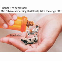 "Funny, Meme, and Fave: Friend: ""l'm depressed""  Me: ""I have something that'll help take the edge off.""  @thegrilledchez @thegrilledchez is my fave meme dealer😂😂🙌🏻"
