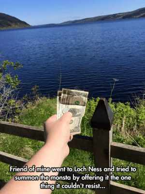 epicjohndoe:  Summoning The Monster: Friend of mine went fo Loch Ness and fried to  summon the monsta by offering it the one  thing if couldnt resisf... epicjohndoe:  Summoning The Monster