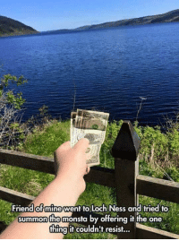Memes, 🤖, and Mine: Friend of mine went to Loch Ness and tried to  summon the monsta by offering it the one  thing it couldn't resist