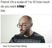 "How To, Infinity, and How: Friend: On a scale of 1 to 10 how much  do you want a hug?  Me  How To Count Past Infinity <p>Sending you a virtual hug. via /r/wholesomememes <a href=""https://ift.tt/2woPuMo"">https://ift.tt/2woPuMo</a></p>"