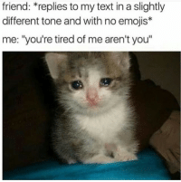 "Funny, Meme, and Emojis: friend: *replies to my text in a slightly  different tone and with no emojis*  me: ""you're tired of me aren't you"" This meme is very funny and sad at the same time"
