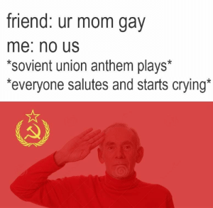 Crying, Mom, and Friend: friend: ur mom gav  me: no Us  *sovient union anthem plays*  everyone salutes and starts crying No us, comrade.