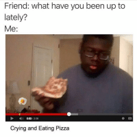 Crying, Memes, and Pizza: Friend: what have you been up to  lately?  Me:  0:53/208  Crying and Eating Pizza yeah mostly just pizza and crying!!!! wbu??? (@freerefills)