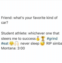 student athlete meme: Friend: what's your favorite kind of  Car?  Student athlete: whichever one that  steers me to success #grind  Heat  never sleep  RIP simba  Montana: 3:00 student athlete meme
