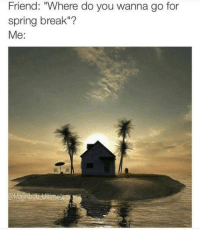 """Why the heck not?: Friend: """"Where do you wanna go for  spring break""""?  Me Why the heck not?"""