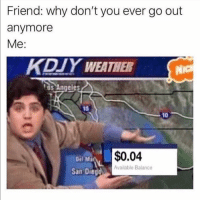 Funny, Weather, and San: Friend: why don't you ever go out  anymore  Me:  KDIY WEATHER  s Angeles  15  10  Del Ma  $0.04  Available Balance  San Diegd This is why 😢