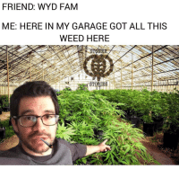 Lmao let's blaze it @tailopez 😂😂😂: FRIEND: WYD FAM  ME: HERE IN MY GARAGE GOT ALL THIS  WEED HERE Lmao let's blaze it @tailopez 😂😂😂
