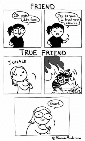 andersen: FRIEND  You do you.  I trust your  choices  Oh psh  Its fine.  TRUE FRIEND  INHALE  Gurl  OSarah Andersen