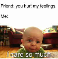 I made this meme too😂 this is so true. 😂😂: Friend: you hurt my feelings  Me  I care so much I made this meme too😂 this is so true. 😂😂