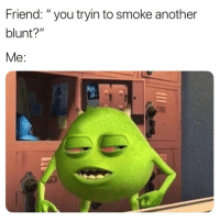 "Weed, Marijuana, and Another: Friend: ""you tryin to smoke another  blunt?""  Me: oh fosho 😂"