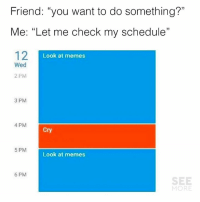 "Nah sorry I'm busy 😂😭😂: Friend: ""you want to do something?""  Me: ""Let me check my schedule""  12I  1)  Look at memes  Wed  2 PM  3 PM  4 PM  Cry  5 PM  Look at memes  6 PM  SEE  MORE Nah sorry I'm busy 😂😭😂"