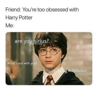Harry Potter, Sirius, and Humans of Tumblr: Friend: You're too obsessed with  Harry Potter  Me:  are vou siriuS  epotterelate  What's ron with you?  You're being viddikulus